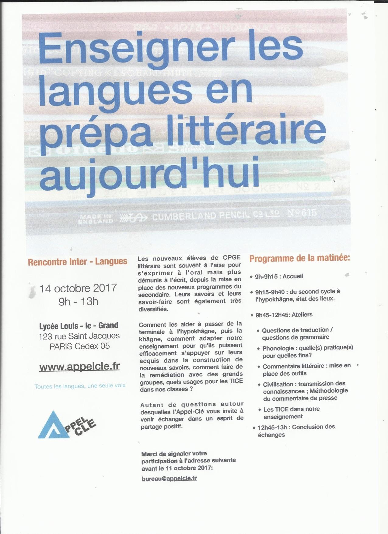Rencontre Interlangues 14 octobre 2017